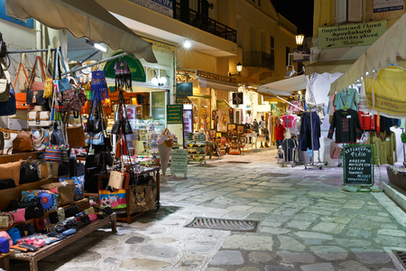 cycladic: Shops in the centre of the old town of Tinos.