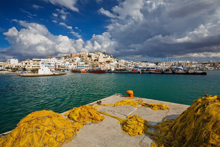 naxos: View of the Naxos town and its harbour.