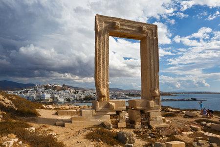View of Portara and Naxos town.