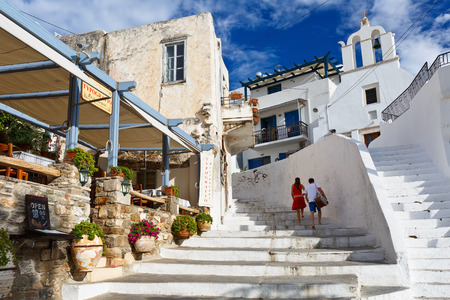 naxos: Restaurant and a church in the old town of Naxos. Editorial