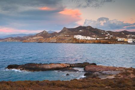 naxos: View of the Grotta in Naxos town over the sea.