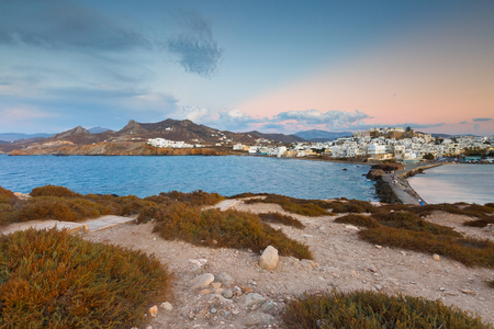 naxos: View of the Naxos town over the sea.