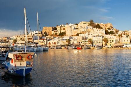 seafronts: View of the Naxos town and its harbour.