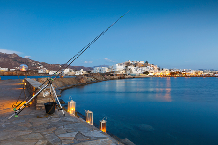 cycladic: View of the Naxos town over the sea.