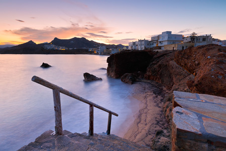 naxos: View of the Naxos town early in the morning. Stock Photo