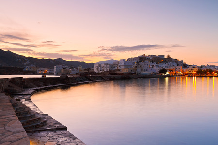 cycladic: View of the Naxos town early in the morning. Stock Photo