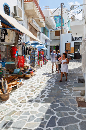 cycladic: Shops in the old town of Naxos. Editorial