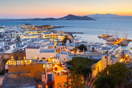 chora: View of the old town of Naxos and its port from the catle. Stock Photo