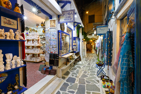 Shops in the old town of Naxos. Редакционное