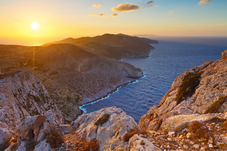 SEA  LANDSCAPE: View of Folegandros island short before sunset. Stock Photo