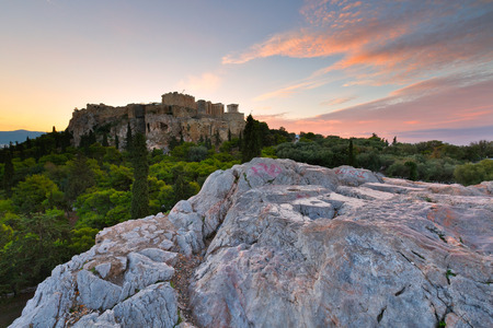 View of Acropolis from Areopagus hill, Athens.