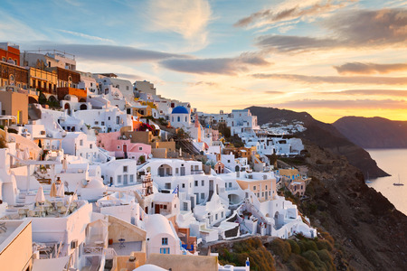 cycladic: View of Oia village on Santorini island in Greece.