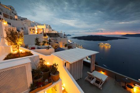 fira: Town of Fira on Santorini island, Greece.