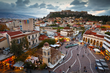 View of Acropolis from a roof-top coffee shop in Monastiraki square, Athens. Stock Photo