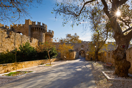 Palace of the Grand Master in Kollakio town quarter in the historic town of Rhodes.