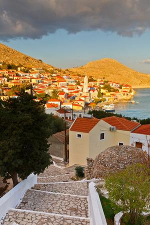 halki: View of Halki village and its harbor, Greece. Stock Photo