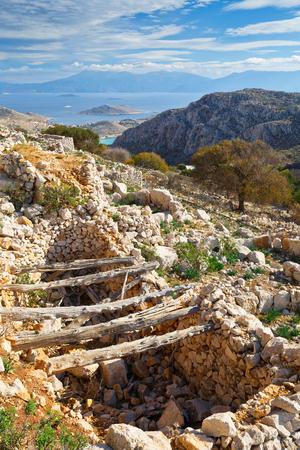 halki: Abandoned village on Halki island in Dodecanese archipelago, Greece.