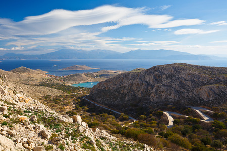 halki: Rhodes island as seen from the hills of Halki island in Dodecanese archipelago, Greece. Stock Photo