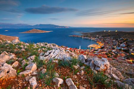 Village on Halki island in Dodecanese archipelago, Greece.