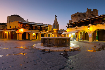 hippocrates: Main square of the old town of Rhodes at dusk.