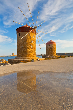 Windmills in the port of Rhodes town.