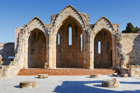 tou: Ruins of a Gothic church in the historic town of Rhodes.
