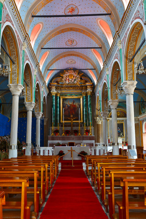 Interior of a church in a Capuchin monastery in Ermoupoli town on Syros island.