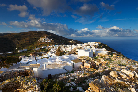 Kastro and Chora villages on Sikinos island early in the morning.