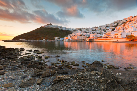 Old harbour, chora and the castle on Astypalea island.
