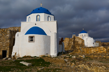 Chrches in the castle Chora on Astypalea island.