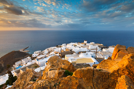 View of Chora village on Anafi island.
