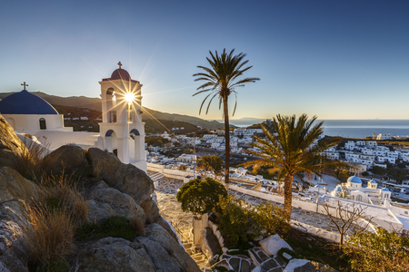 Morning view of Chora on Ios island, Greece. Imagens