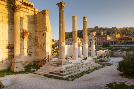 Remains of Hadrians Library in the old town of Athens, Greece. Stock Photo