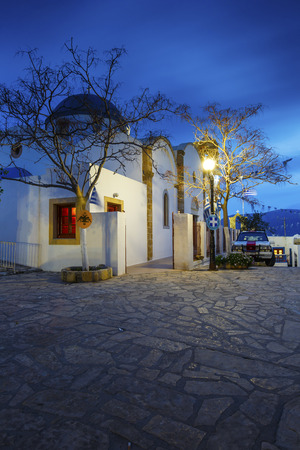 Main village of Lipsi island in Dodecanese, Greece. Editorial