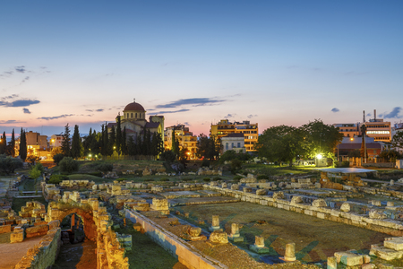 archaeologies: Archaeological site of Kerameikos on the edge of the old town of Athens, Greece. Stock Photo
