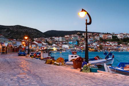Picturesque Pythagorio town on Samos island, Greece. Редакционное