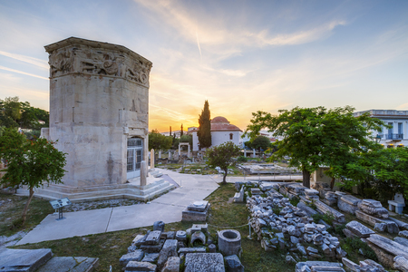 Tower of Winds and remains of Roman Agora in the old town of Athens, Greece. Stock Photo