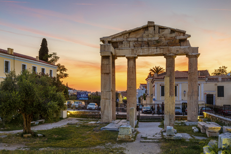Remains of Roman Agora in the old town of Athens, Greece. Editorial