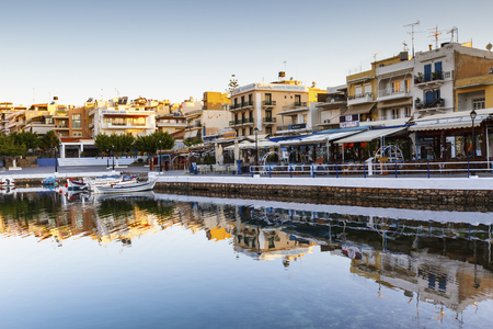 Morning view of Agios Nikolaos and its harbor, Crete, Greece.