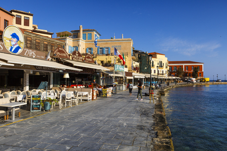 Restaurants in the old town of Chania on Crete island, Greece.