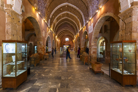 Exposition of Archaeological Museum of Chania, Greece.