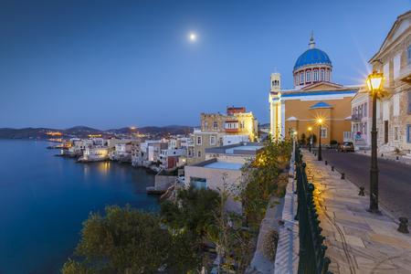 morning blue hour: Vaporia district of Ermoupoli town on Syros island.
