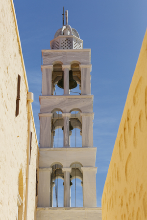 cycladic: Belltower of a church in Capuchin monastery in Ano Syros willage on Syros island, Greece. Stock Photo