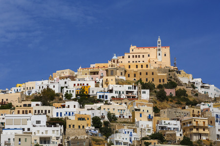 cycladic: Capuchin monastery in Ano Syros village on Syros island in Greece