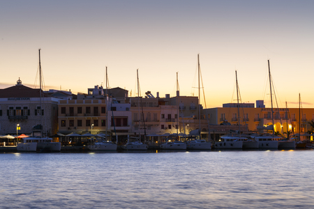 afterglow: Ermoupoli town on Syros island in Cyclades, Greece.