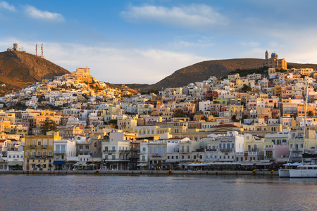 cycladic: Ermoupoli town on Syros island in Cyclades, Greece.