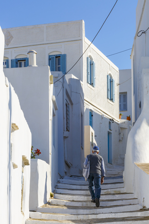 cycladic: Street with typical Cycladic architecture in Artemonas village on Sifnos island in Greece. Editorial