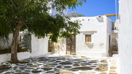 cycladic: Typical Cycladic architecture in Artemonas village on Sifnos island in Greece. Stock Photo