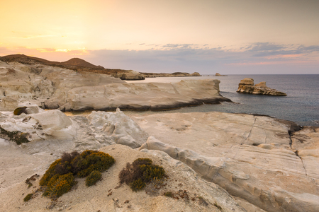cycladic: Volcanic rock formations on Sarakiniko beach on Milos island, Greece. Stock Photo