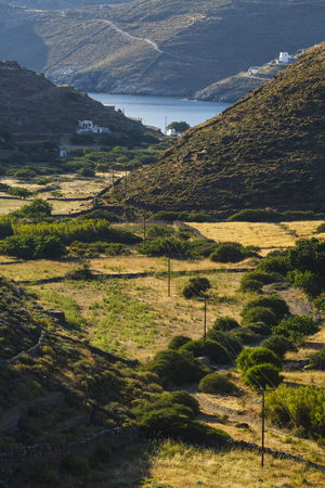 cycladic: Rural landscape on the coast of Kythnos island in Greece.